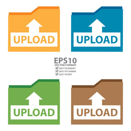 peer: Vector : Upload Document Icon, Sign or Button Isolated on White Background