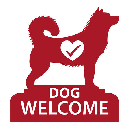 accomodation: Red Dog Welcome Icon, Sticker or Label Isolated on White Background Stock Photo
