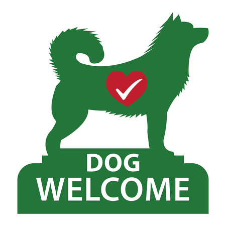 dog allowed: Green Dog Welcome Icon, Sticker or Label Isolated on White Background