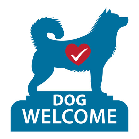 accomodation: Blue Dog Welcome Icon, Sticker or Label Isolated on White Background Stock Photo