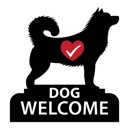accomodation: Black Dog Welcome Icon, Sticker or Label Isolated on White Background