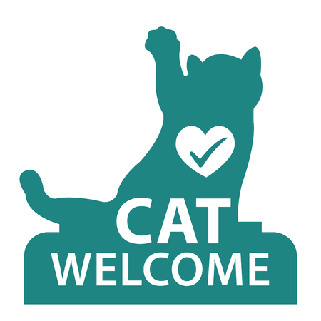 accomodation: Blue Cat Welcome Icon, Sticker or Label Isolated on White Background