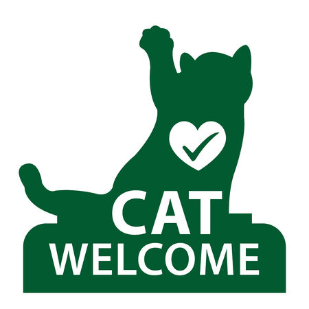 staying: Green Cat Welcome Icon, Sticker or Label Isolated on White Background Stock Photo
