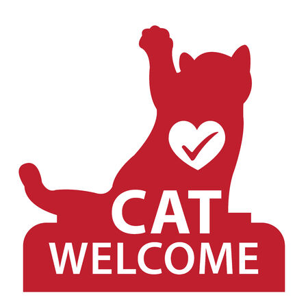 accomodation: Red Cat Welcome Icon, Sticker or Label Isolated on White Background Stock Photo