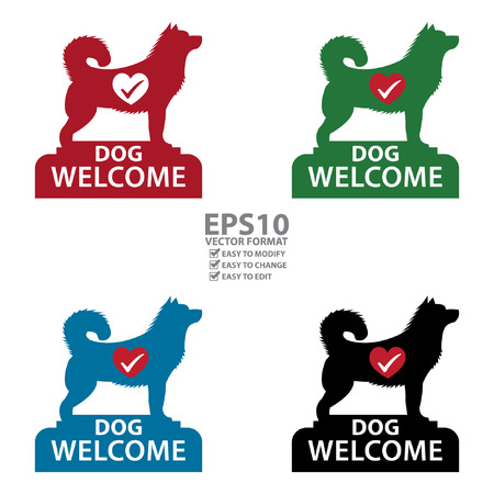 accomodation: Vector : Dog Welcome Icon, Sticker or Label Isolated on White Background Illustration