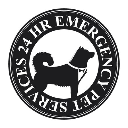 24 hr: Black Circle 24 HR Emergency Pet Services Icon, Sticker or Label Isolated on White Background Stock Photo