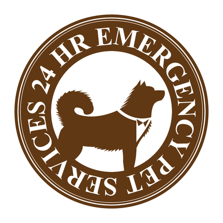 24 hr: Brown Circle 24 HR Emergency Pet Services Icon, Sticker or Label Isolated on White Background Stock Photo