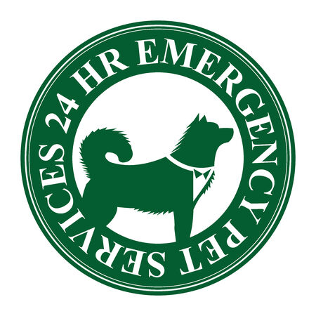 24 hr: Green Circle 24 HR Emergency Pet Services Icon, Sticker or Label Isolated on White Background