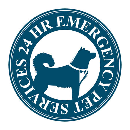 24 hr: Blue Circle 24 HR Emergency Pet Services Icon, Sticker or Label Isolated on White Background