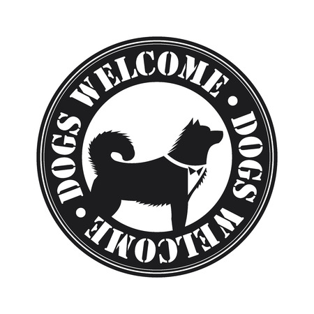 accomodation: Black Circle Dogs Welcome Icon, Sticker or Label With Dog Sign Isolated on White Background