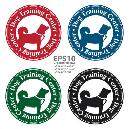 Vector : Circle Dog Training Center Icon, Sticker or Label With Dog Sign Isolated on White Background