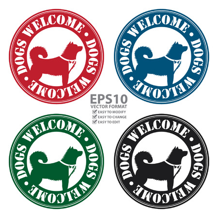 accomodation: Vector : Circle Dogs Welcome Icon, Sticker or Label With Dog Sign Isolated on White Background