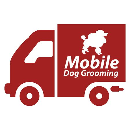 Red Mobile Dog Grooming Icon or Label Isolated on White Background photo
