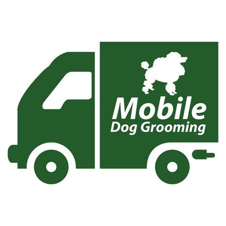 clear skin: Green Mobile Dog Grooming Icon or Label Isolated on White Background