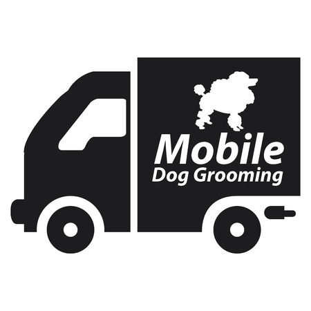 黒モバイル犬のアイコンまたはラベルは、白い背景で隔離の毛づくろい 写真素材