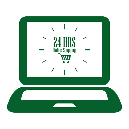 hrs: Green Computer Notebook or Laptop With 24 HRS Online Shopping on Screen Icon or Label Isolated on White Background