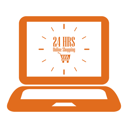hrs: Orange Computer Notebook or Laptop With 24 HRS Online Shopping on Screen Icon or Label Isolated on White Background
