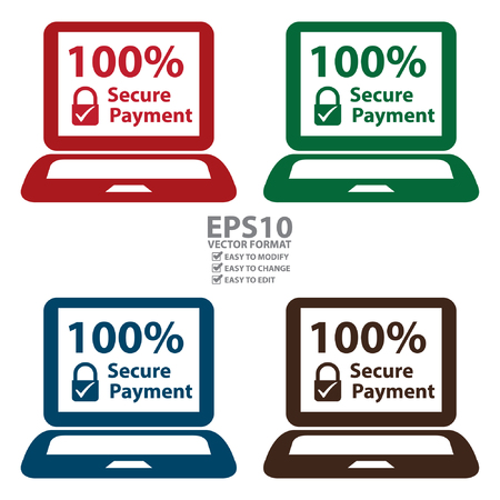 secure payment: Vector : 100 Percent Secure Payment Notebook or Laptop Icon or Label Isolated on White Background
