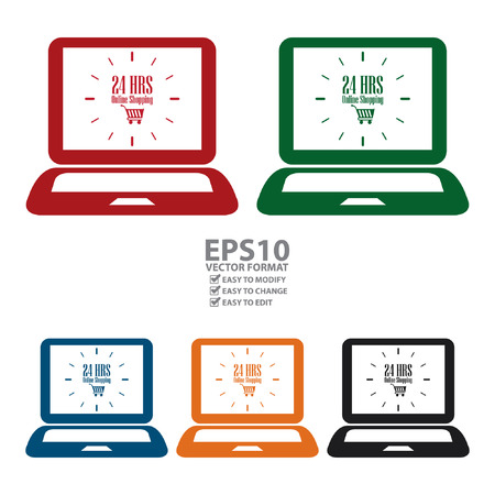 hrs: Vector : Computer Notebook or Laptop With 24 HRS Online Shopping on Screen Icon or Label Isolated on White Background Illustration