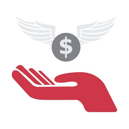 red hand: Red Hand With Coin Isolated on White Background Stock Photo