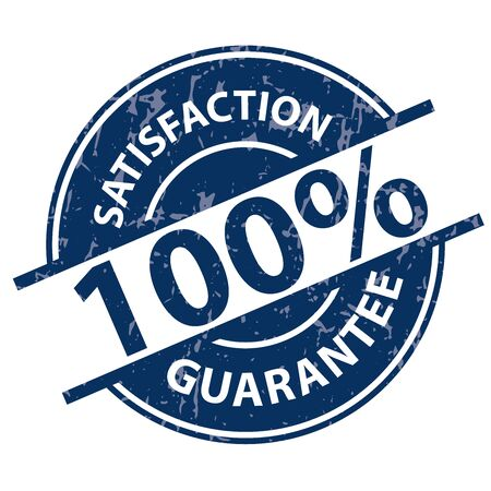 qc: Blue Grunge 100% Satisfaction Guarantee Icon, Label or Sticker Isolated on White Background