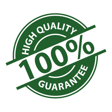 Green 100% High Quality Sign, Icon, Label or Sticker Isolated on White Background