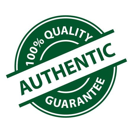 qc: Green Authentic 100% Quality Sign, Icon, Label or Sticker Isolated on White Background Stock Photo