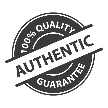 Black Authentic 100% Quality Sign, Icon, Label or Sticker Isolated on White Background Banco de Imagens