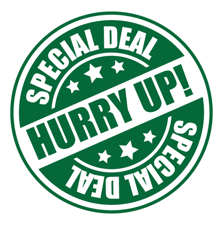 hurry up: Cerchio verde Vintage Style Hurry Up! Icon Offerta speciale, Sticker o etichetta isolato su sfondo bianco