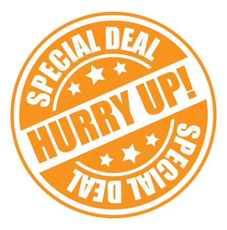 hurry up: Arancione Cerchio stile dell'annata Hurry Up! Icona Offerta speciale, autoadesivo o etichetta isolato su sfondo bianco