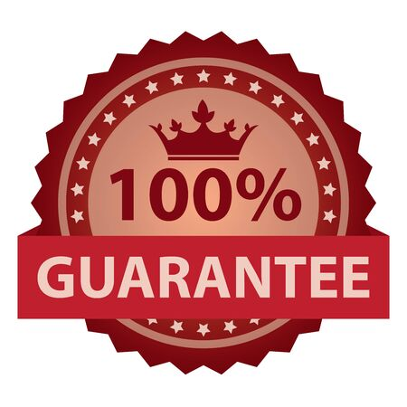 qc: Red 100% Guarantee Ribbon, Sticker, Icon, Banner, Label Isolated on White Background