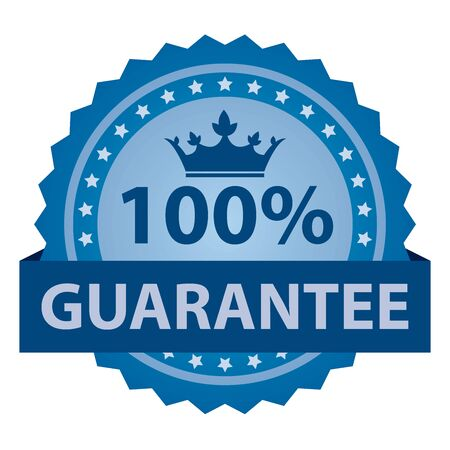 qc: Blue 100% Guarantee Ribbon, Sticker, Icon, Banner, Label Isolated on White Background