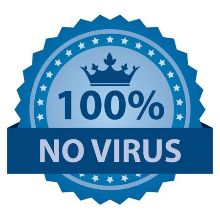 adware: Blue 100 Percent No Virus Badge, Icon, Label or Sticker Isolated on White Background