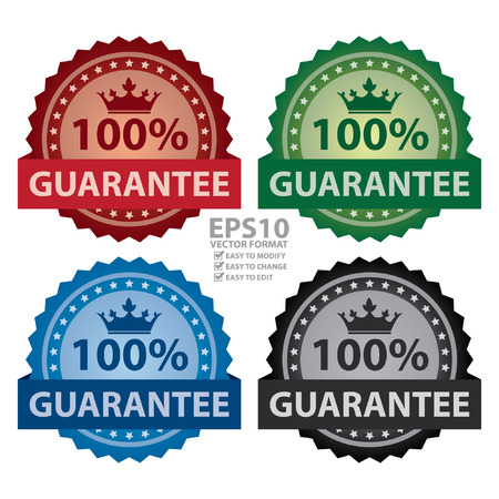 qc: Vector : 100% Guarantee Ribbon, Sticker, Icon, Banner, Label Isolated on White Background