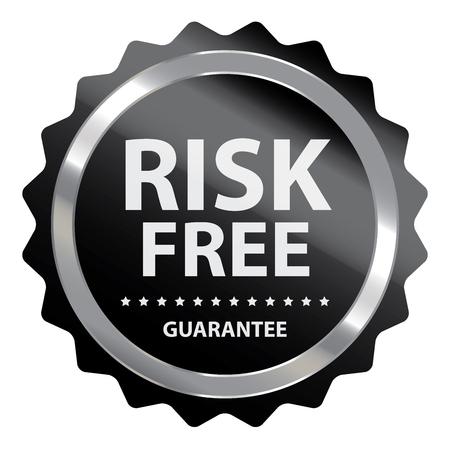 warrant: Black Metallic Risk Free Guarantee Badge, Icon, Sticker or Label Isolated on White Background Stock Photo