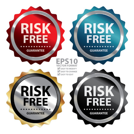 Vector : Metallic Risk Free Guarantee Badge, Icon, Sticker or Label Isolated on White Background