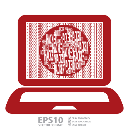 Vector : Red Computer Notebook or Laptop With Binary Number and Hacker Text on Screen Isolated on White Background