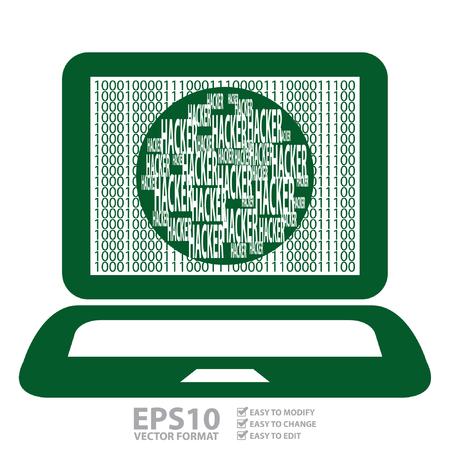 computer hacker: Vector: verde computer notebook o laptop con Binario Numero e Hacker testo sullo schermo isolato su sfondo bianco
