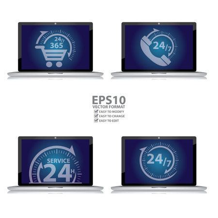 Graphic for E-Commerce Concept, Computer Laptop With 247 365 Days Shopping Sign, 247 Customer Support or Call Center Sign, 24H Service Sign and Open 247 Sign on Blue Screen Isolated on White Ilustração