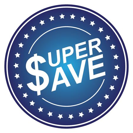 Blue Circle Glossy Style Super Save Sticker, Icon or Label Isolated on White Background