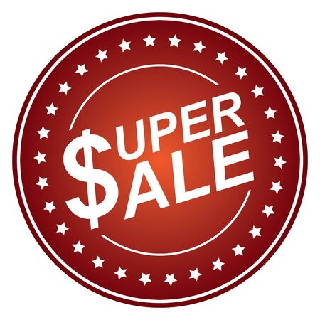 Red Circle Glossy Style Super Sale Sticker, Icon or Label Isolated on White Background