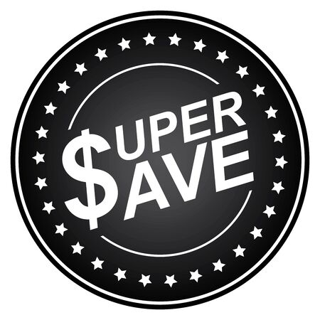 stock price quote: Black Circle Glossy Style Super Save Sticker, Icon or Label Isolated on White Background Stock Photo