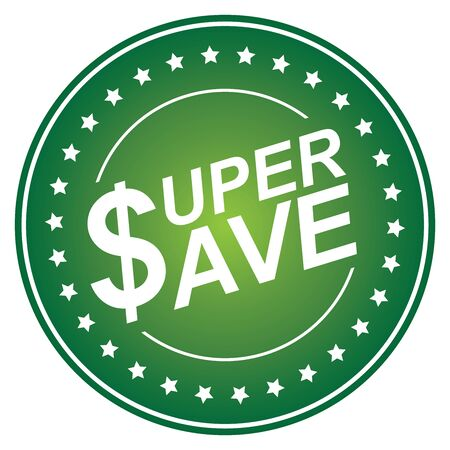 Green Circle Glossy Style Super Save Sticker, Icon or Label Isolated on White Background Stock Photo