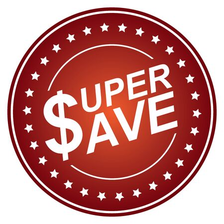 stock price quote: Red Circle Glossy Style Super Save Sticker, Icon or Label Isolated on White Background