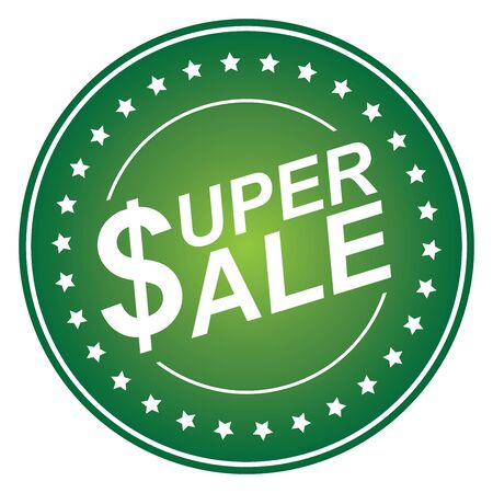 Green Circle Glossy Style Super Sale Sticker, Icon or Label Isolated on White Background