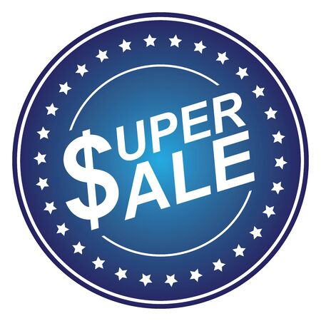Blue Circle Glossy Style Super Sale Sticker, Icon or Label Isolated on White Background