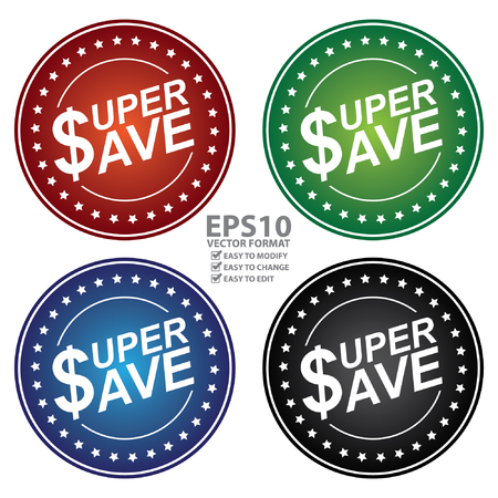 stock price quote: Vector : Circle Glossy Style Super Save Sticker, Icon or Label Isolated on White Background