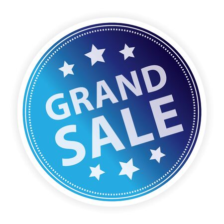 lowest: Blue Metallic Style Grand Sale Sticker, Label or Icon Isolated on White Background