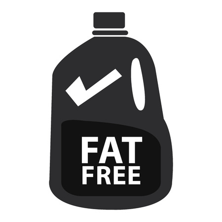 low cal: Black Fat Free Milk in Gallon Icon or Label Isolated on White Background