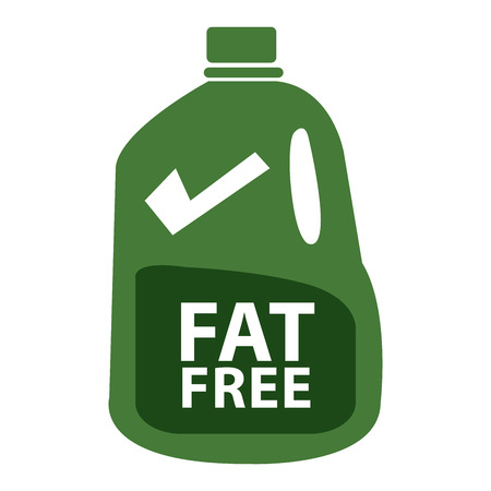 low cal: Green Fat Free Milk in Gallon Icon or Label Isolated on White Background Stock Photo
